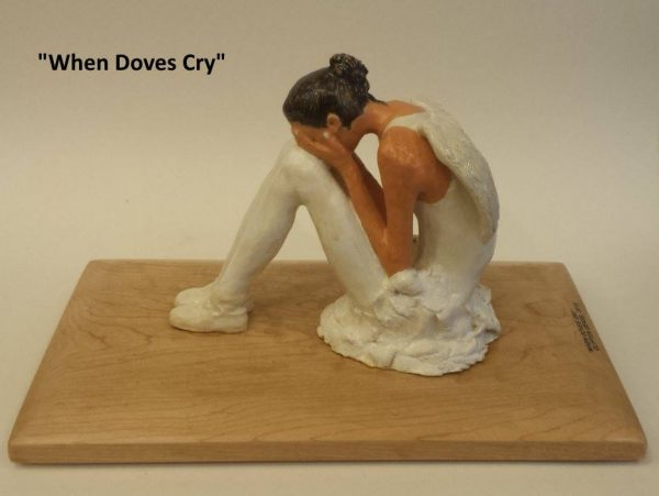 crying ballerina sculpture, left view
