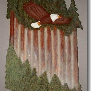Eagle's Glide, relief wood carving