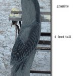 Blue Heron stone carving, 4' tall