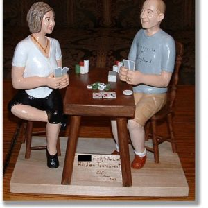 """Texas Hold 'em"" wood carving, portrait figurines, couple playing cards"