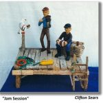 two fisherman with fiddle and accordian