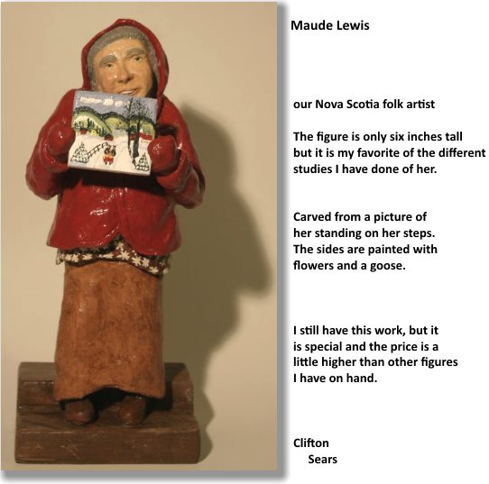 a small portrait carving of Maude Lewis, she holds a painting