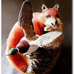Missed! Fox and Mallard Duck wood carving