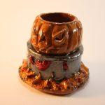 ceramic candle holder, evil pumpkin having a lobster boil