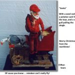 Fisherman Santa with woolen sock and a seagull helper