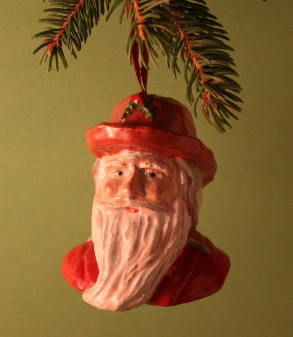 Fisherman Santa, head and shoulders, tree ornament, ceramic