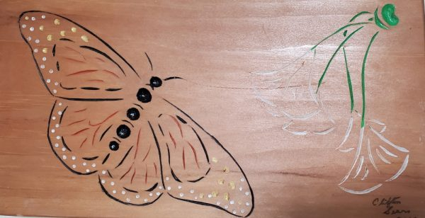chip carved butterfly with painted lines