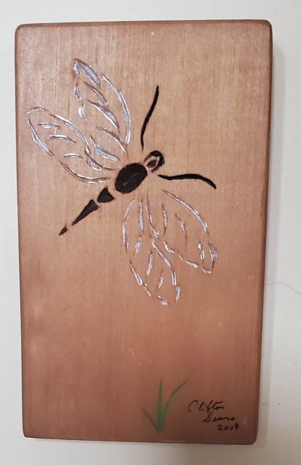 Stylized Dragonfly, chip carved, painted lines